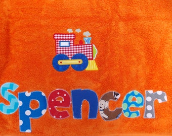 Personalized Towel-Mermaid ,train boys applique name- custom towel-owl towel-great for beach, bath, Birthday Gifts, Daycare