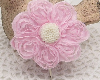 Pink Lace Flower Bobby Pin
