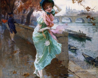 Elegant Lady on the Quay of Paris - Cross stitch pattern pdf format