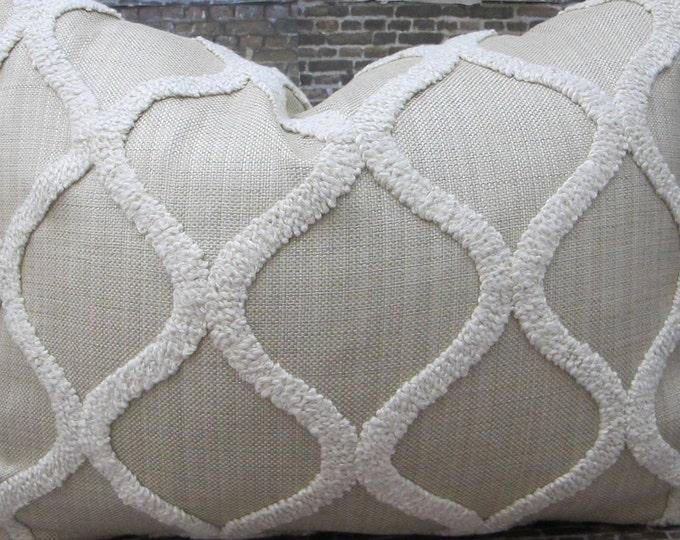 3BModliving Designer Pillow Cover - Boucle Trellis Tan - Lumbar, 16 x 16, 18 x 18, 20 x 20, 22 x 22