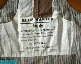 Funny Vintage Apron - Help Wanted Female - Want Ad Apron - Chambermaid - Kitchen Kitsch