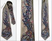 """Hand-painted Silk Tie """"Winter Apples"""". Оriginal Аrtwork on Silk Satin. Winter Tree Necktie."""