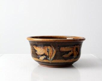 mid century studio pottery bowl, ceramic art bowl