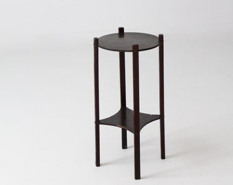 FREE SHIP  vintage wood plant stand, small wooden end table