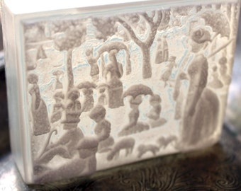 A Sunday Afternoon Soap, Seurat - Black&White or White Highlight -Clear Back,1884, Scented in Freesia, Pointillism