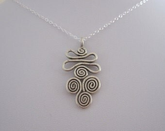 Solid 97% sterling silver SWIRLS charm with necklace chain, charm necklace