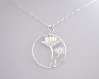 Cutout two LOTUS FLOWERS round sterling silver charm with necklace chain, yoga necklace