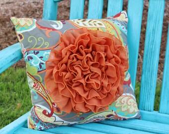 """Chiffon Ruffle Flower Pillow Cover 18"""""""