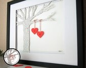 Wedding Gift: Personalized Framed 3D Song & Hearts - your song lyrics or wedding vows (unique anniversary gift) 11x14 FRAMED