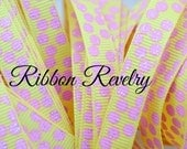 """Pink glitter silly dots printed on yellow 3/8"""" OR 7/8""""  grosgrain ribbon-High Quality"""