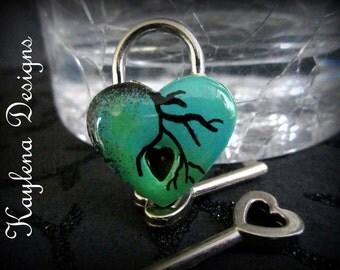 Heart Lock, Embellished heart  lock, working lock, lock and key, Hand painted green heart