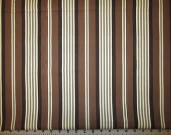 "Michael Miller Banded Ticking Stripe Cream and Brown fabric 1 yard 21"" X 42"""