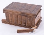 Magyar Folk Art Wooden Secret Puzzle Box w/ Hidden Compartments Dark Brown Jewelry Case