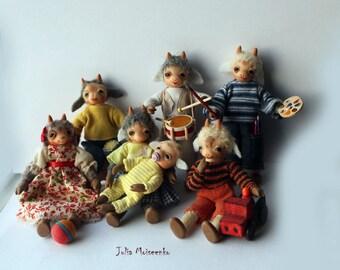 Miniature Handmade Seven Young Goats OOAK by Julia Moiseenko