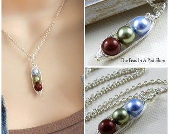 Peapod Necklace - Three Peas In A Pod Silver Necklace