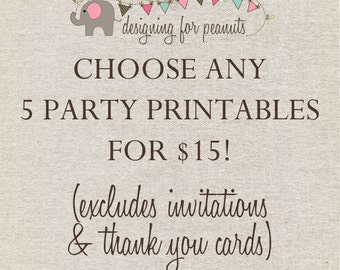 A LA CARTE Custom Mini Package for ANY 5 items in my shop (excluding invites & thank you cards!)