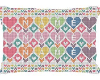 Colorful Hearts Kids Custom Needlepoint Pillow Canvas