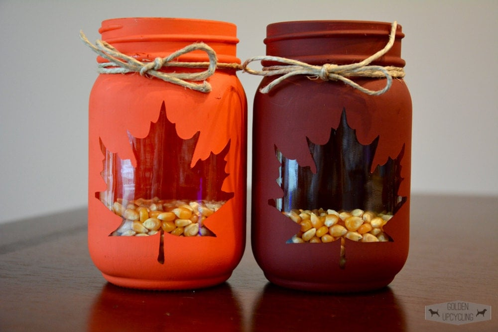 Thanksgiving Decor Fall Mason Jar Centerpiece by