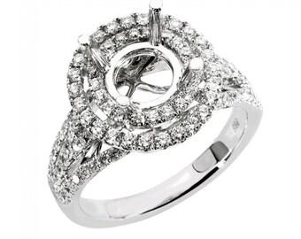 Diamond Ring Setting, Semi Mount, Diamond Engagement Ring Setting, Double Halo Engagement Ring, 1.5Ct. or 2Ct. Round Diamond Engagement Ring