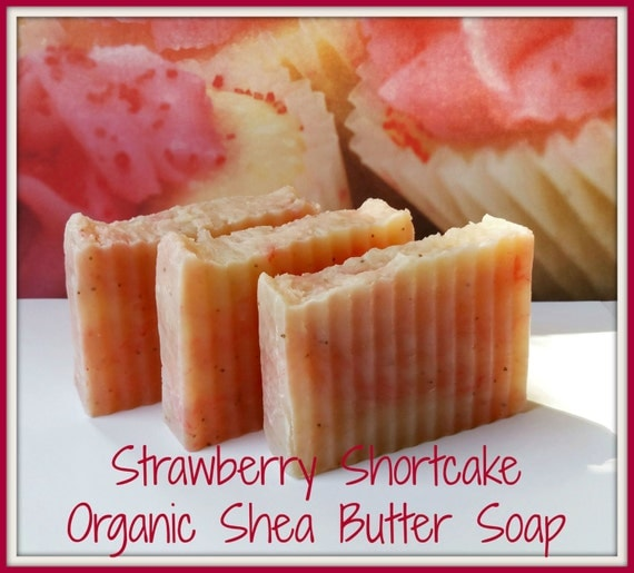 Strawberry Shortcake Organic Shea Butter Soap Bars. Custom dreamy scent, Handmade, Exfoliating. Large 4 - 5 oz bar! Premium Quality