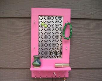 Bubblegum pink jewelry organizer, jewelry holder, earring holder, woodworking, wood organizer, pink organizer, necklace holder, Montana