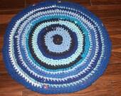 SALE Blue Stripe Crochet Zpagetti Yarn Rug