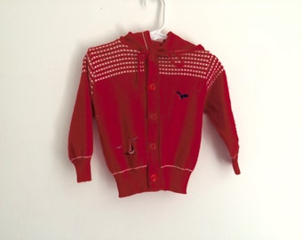 1970s Boys Nautical Preppy HIpster Button Up Cardigan
