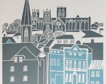 York UK - LARGE Original Limited Edition Linocut Print - Yorkshire - English Architecture - Grey Teal Cityscape - Signed Giuliana Lazzerini