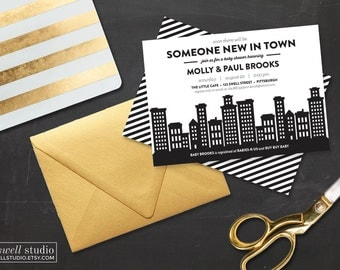 City Baby Shower - New in Town Invitation, Black White Baby Shower Invite Classy Baby Shower Invitation, Gender Neutral Invitation Printable