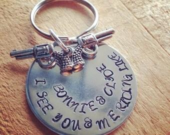 Hand Stamped Alumunim key ring. 1.5 inches in diameter.  Brantley Gilbert lyrics shown.
