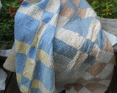 RESERVED FOR lydiay--Lovely Vintage Brown, Yellow, Blue Squares Quilt-Hand Quilted--Slightly Tattered-Christmas Tree Skirt