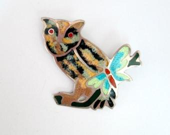 Owl Brooch Sterling Silver Enamel Vintage 1940s 1950s Colorful Pin