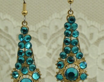 TEAL Austrian Crystal Rhinestone EARRINGS on Brass Filigrees - Sparkle and GLAM