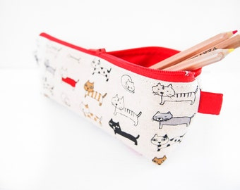 Zippered Pencil Case / Pouch - Mini Cat