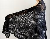 Black shawl  Lace black shawl  Wrap shawl Knit shawl Shawl wrap Wraps shawls Knit wraps Wraps shawls wedding shawl Knit black scarf