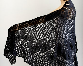 Black shawl  Lace black shawl  Wrap shawl Knit shawl Shawl wrap Wraps shawls Knit wraps Wraps shawls wedding shawl Knit black scarf