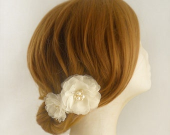 Pure Silk Bridal Hair Flower, Wedding Hair Flower, Ivory Bridal Flower Hair Clip, Swarovski Crystal Wedding Hair Accessory, Freshwater Pearl