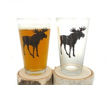 Rustic Moose Pint Glasses - Screen Printed Beer Glasses - Set of two 16oz. Pint Glasses