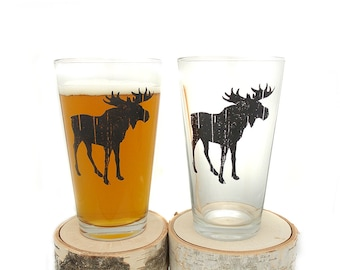Rustic Moose Pint Glasses - Screen Printed Beer Glasses - Set of two 16oz. Pint Glasses