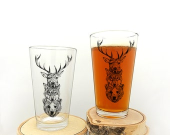 Pint Glasses - Elk Wolf Bear Totem - Screen Printed Beer Glasses - Set of two 16oz. Pint Glasses