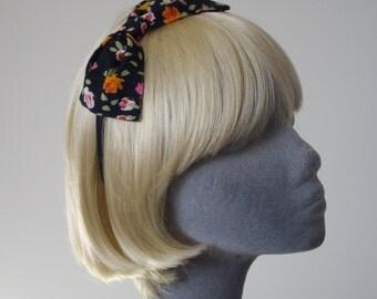 Black Headband- Black-Orange Floral Bow Headband