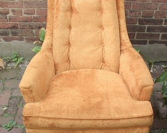 Vintage 1960's Mid century Modern Chair, Fairfield Orange velvet chair, High back Chair, Arm chair, Living room furniture, Bedroom chair
