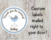 PRINTED Baby Shower Round Thank You Stickers - Blue Baby Carriage for Boys Labels for Party Favors  **** DISCOUNTS AVAILABLE****