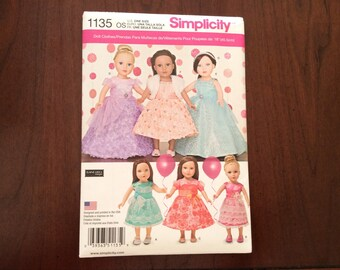 Simplicity Pattern 1135, New Uncut, Factory Fold, Fancy Dresses for 18 Inch Dolls