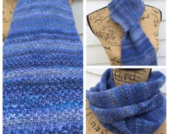 Hand Knit Scarf, Winter Scarf, Hand Painted, Merino Wool
