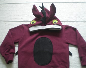 Monster Hoodie, Monster sweatshirt, Dragon shirt, size 3T, Toddler sweatshirt