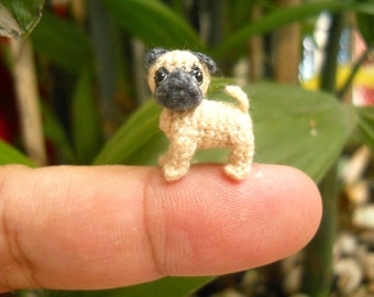 Micro Miniature Tan Pug Dog - Teeny Tiny Dollhouse Miniature Pet - Thread Crochet Animals - Made To Order