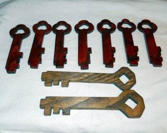 Wooden Keys, lot of 9