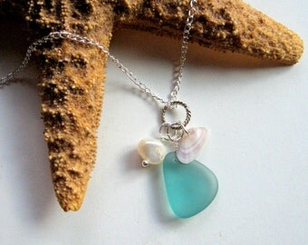 Beach Trio - Teal Sea Glass, Tiny Seashell, and Freshwater Pearl Necklace - Summer necklace, ocean, shell, beach glass, natural, ooak