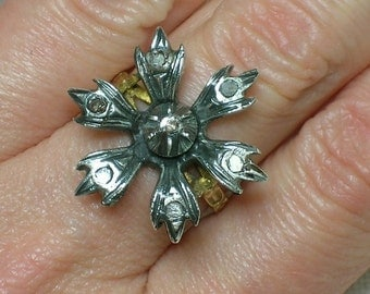 Antique Ring: Silver & Diamond Gothic Flower, 18th/19th Century. Size 6